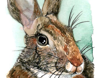 ACEO Limited Edition (Last one)- My Friend the Rabbit, Cute animal art print of an original watercolor painting, Gift idea for animal lovers