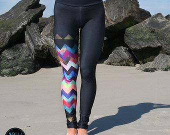 LEGGING - Montauk Chevron- Wide band legging YOGA, SUP, surf
