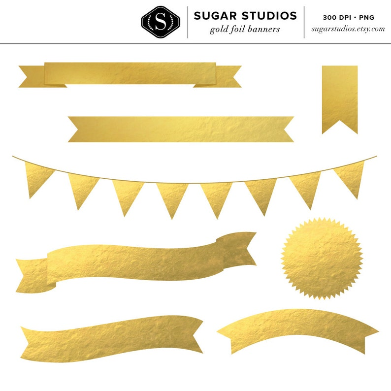 df8a218772139 8 High Quality Gold Foil Banners - Bunting, Ribbon Banner, Commercial Use,  Digital, Frame, Seal, Label, Flag, Instant Download
