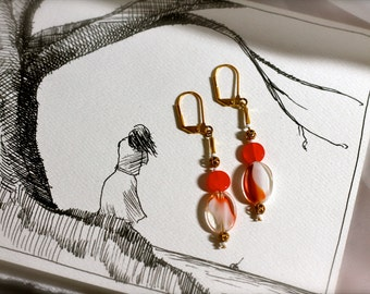 Red and White Elegant Dangle Earrings: European Glass Red, White, Clear Beads with Red Glass Beads, Gold Filigree details, White Seed Beads