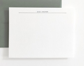 EMPIRE Modern Letterpress Stationery Set - Custom Flat Note Card Set - Transatlantic
