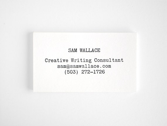 Typewriter letterpress business cards editor style modern etsy image 0 colourmoves