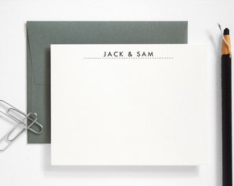 Letterpress Couples Stationery - Custom Note Card Set - Modern Utility Thank You