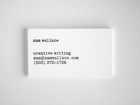 Typewriter business cards editor style letterpress black etsy image 0 reheart Gallery