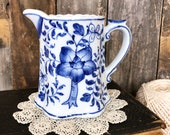 Andrea by Sadek Pitcher, Small Pitcher, Blue and White Decor, Dining Room, Serving, Porcelain Pitcher