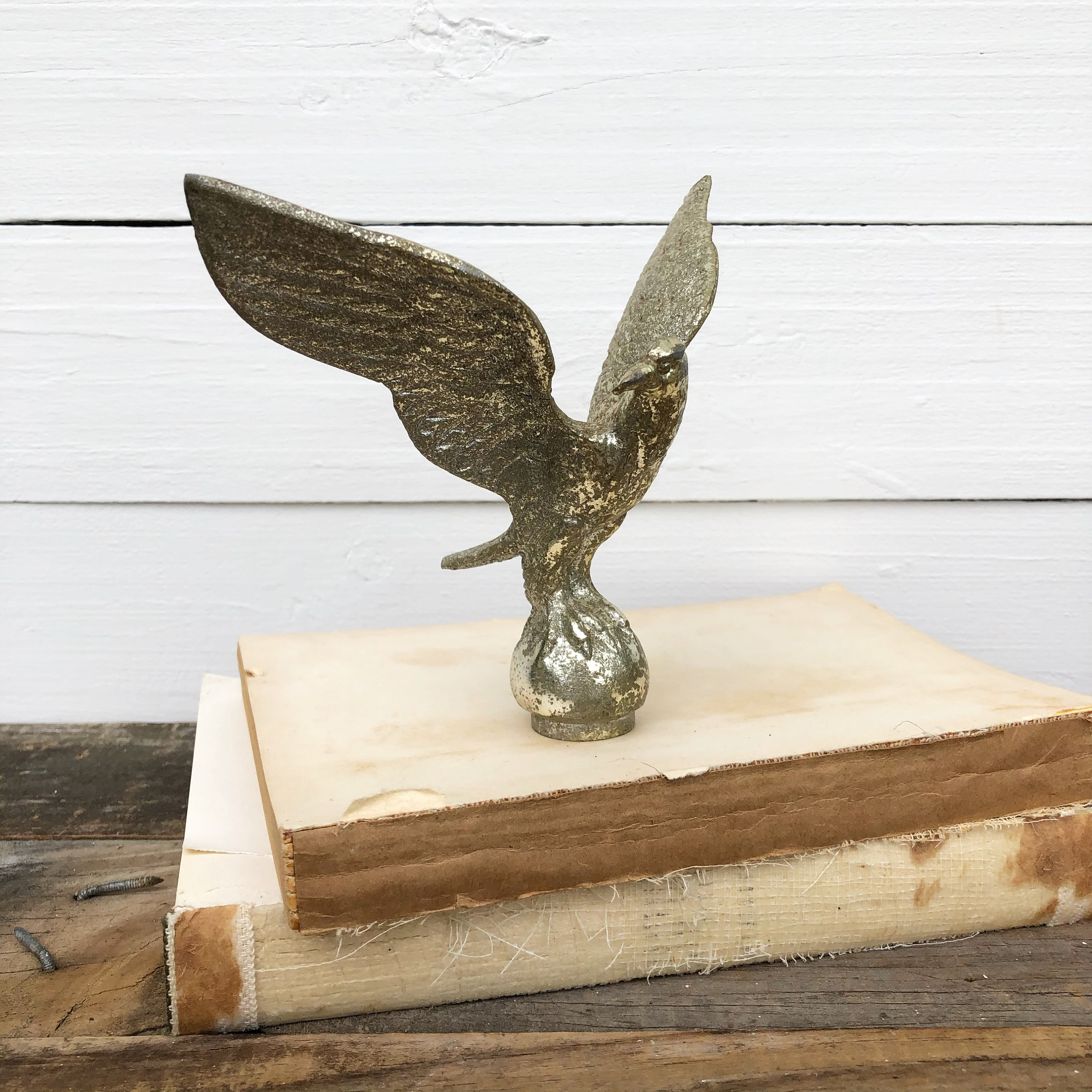 Vintage Flag Finial, Eagle Finial, Salvage, American Eagle, Collectible, Eagle on Orb, Shelf Sitter for sale