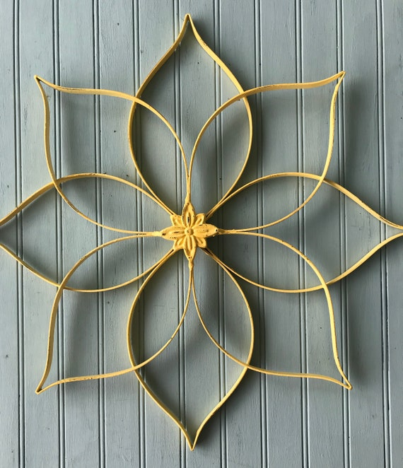 Metal Wall Art Yellow Metal Wall Hanging Large Metal Wall Etsy