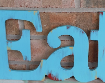 Eat Word / Vintage Inspired / Rustic Kitchen Decor / Shabby Letters / Rustic Letters / Typography / Retro Look / signage