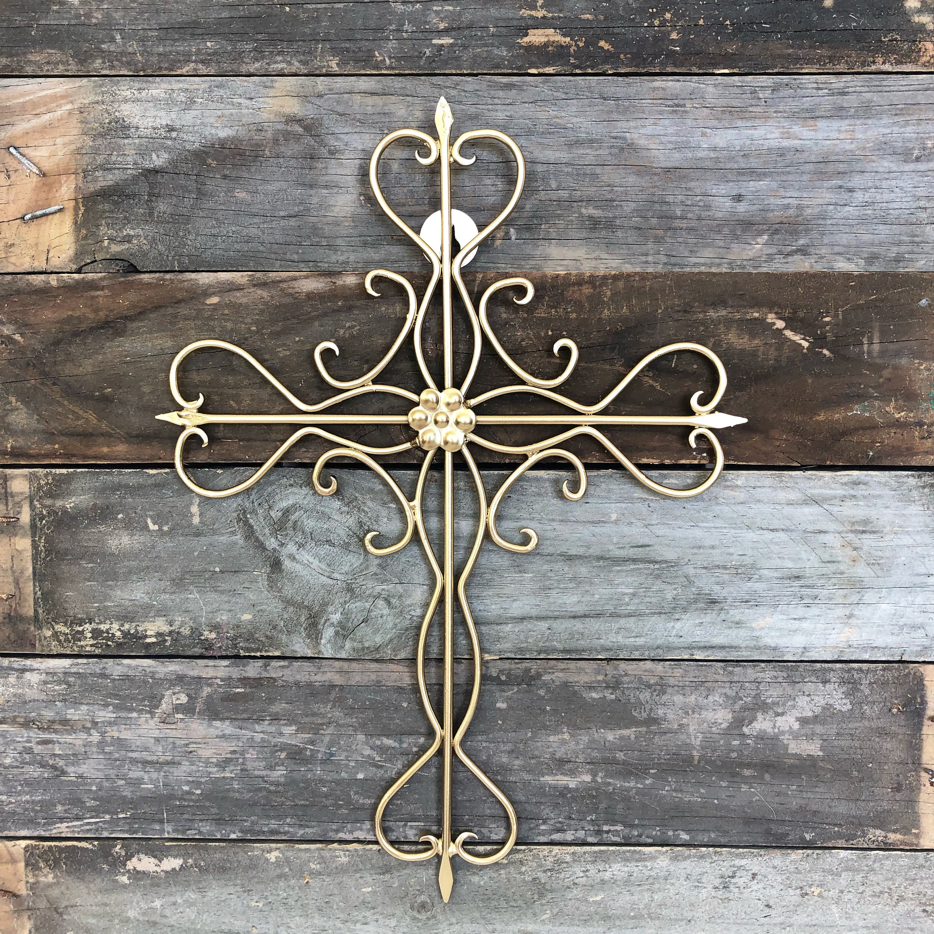 Cross Wall Hanging Ready To Ship Metal Wall Decor Metallic Gold Decorative Cross Gallery Wall Religious Gift Cross Wall Gold Wall