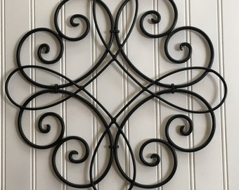 Metal Wall Art-Black Wall Decor- Wall Hanging - Metal Wall Decor -Swirled Metal -Outdoor Wall Decor -Round