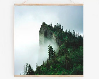 Forest Art.Wall Decor.Misty Crag.Mountain.Trees.35mm Film Photograph.Washington.Pacific Northwest.Rainy Day.SEVERAL SIZES & CROP Options