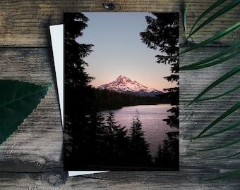 "Mount Hood Folding Card.Oregon.Greeting Card.Mountain.PNW.Stationery.BLANK INSIDE.4x5.5"""