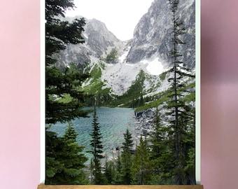 Alpine Lake.Colchuck.Washington.Mountain.Forest.Decor.Teal Water.Mist.Dragontail Peak.Asgard Pass.The Enchantments.