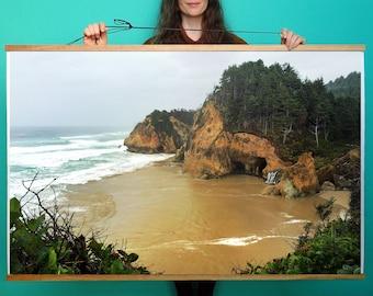 Oregon Coast.Art.Wall Decor.Hug Point. Waterfall. Coastal.Ocean.Waves.West Coast.Sea.SEVERAL SIZES & Poster Option