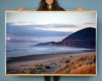Oregon Coast.Art.Wall Decor.Nahalem Bay. Neahkahnie Cliffs Sunset.Coastal.Ocean.Waves.West Coast.Sea.Pink. SEVERAL SIZES & Poster Option
