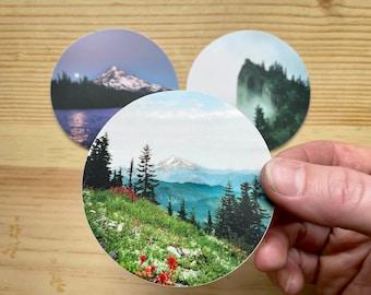 Oregon Stickers. Mount Hood. Table Mountain. 3 styles. PNW. Pacific Northwest Art.Waterproof.