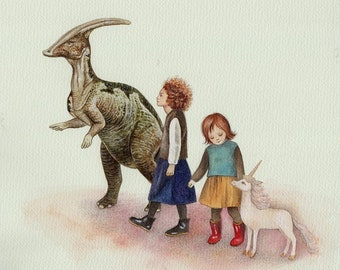 Sisters, Dinosaur Art, Modern Girl's Bedroom Art, Bedroom Decor, Watercolor Print, Unicorn Art