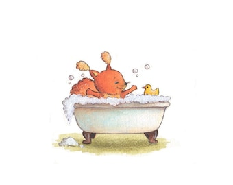 Nursery Art - Squirrel in a Bath