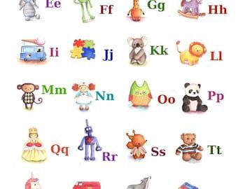 ABC Alphabet Poster A4 Print, Toy Alphabet, Nursery Decor, Baby Gift, Nursery Art Print, Alphabet Poster, Kid's Bedroom Art