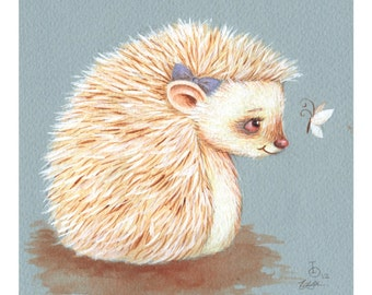 Sonnet, Albino Hedgehog, print from an original watercolor illustration for Oleg