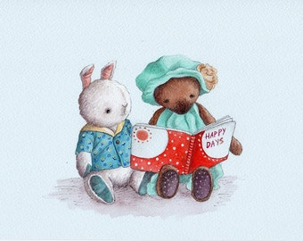 Nursery Art Print, Teddy Bear and Bunny Reading a Story