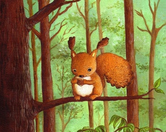 Art for Nursery Little Squirrel print from an original acrylic illustration