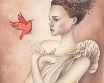ORIGINAL ART Her Red Birds