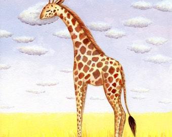 Giraffe Art, Nursery Art, Sleepy Giraffe