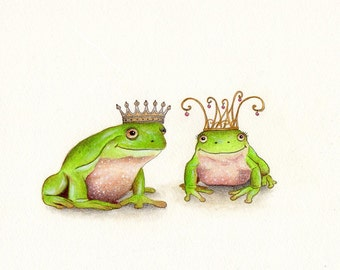 Nursery Art - Frog Prince and Frog Princess Art Print