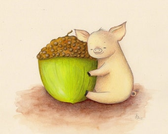 Art for Nursery Piglet and Acorn print from an original acrylic illustration