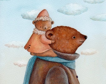 Baby Art, Daddy's Shoulders, Bear Art, baby and Daddy, Nursery Decor, Watercolor Print, Baby Gift, Kid's Wall Art, Bedroom Illustration
