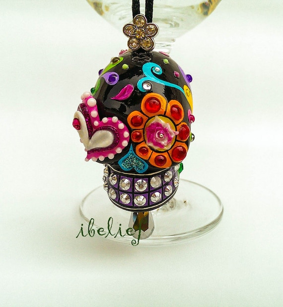 ornament skull black day of dead charm hang rear view