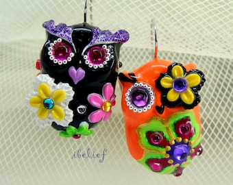 OWL NIGHT of handmade owls earrings EW0039