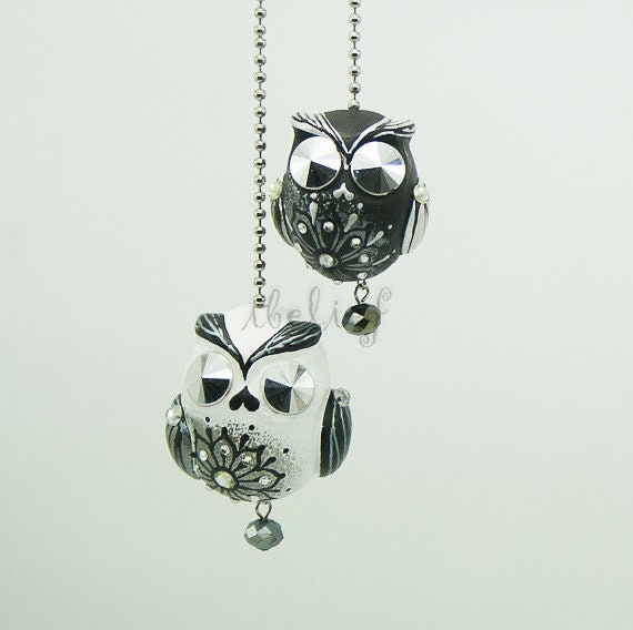 Both of Owls charm hang rear view mirror for car