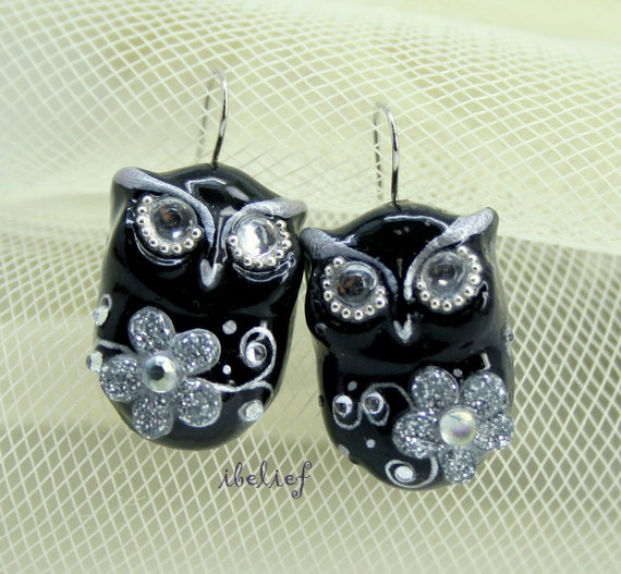 OWL NIGHT of handmade owls earrings EW0050