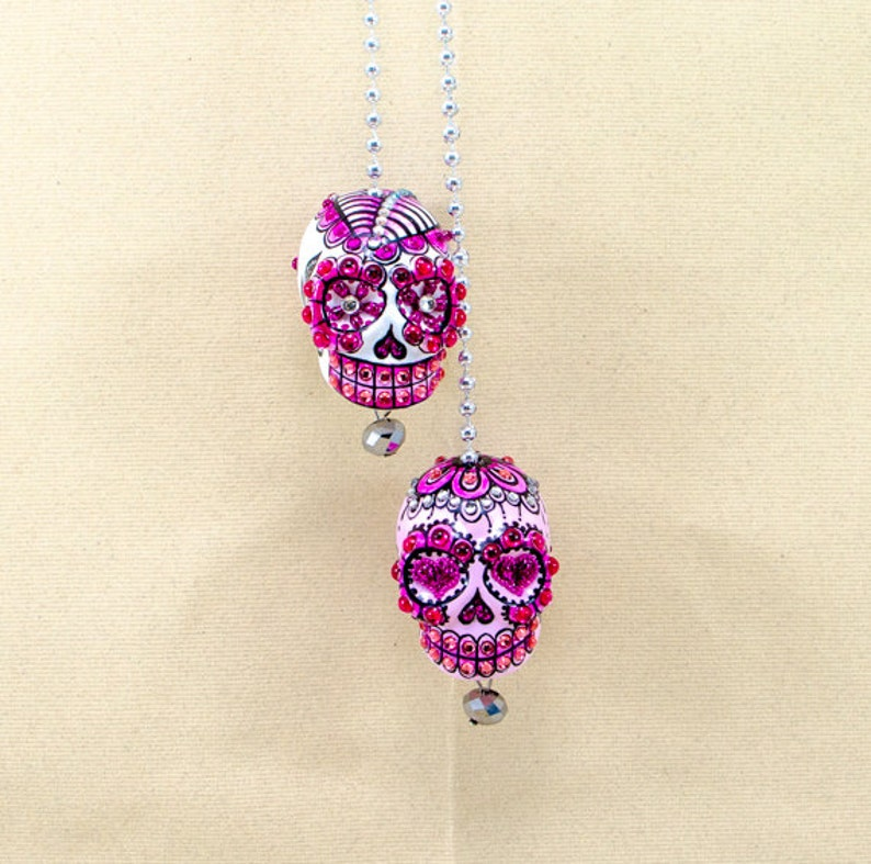 Both Skulls day of dead charm hang rear view mirror for car