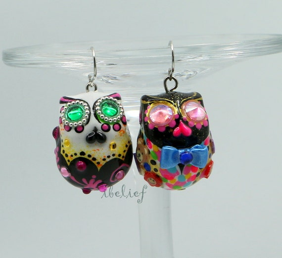 New Owl earrings handmade from polymer clay