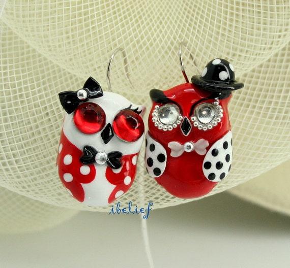 OWL earrings handmade from polymer clay EW0024