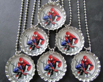 Spiderman necklace or party favors / Bottle Cap necklace or set of 6 great for party favors or gifts /visit my shop for other Super Hero's