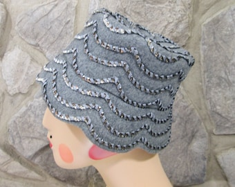 23966df08f326 Vintage 60's Glenover Henry Pollak Gray Wool Hat w/Silver Sequins