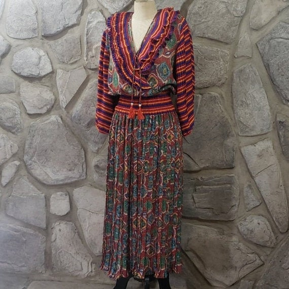 Vintage Diane Fres Colorful Pleated Dress