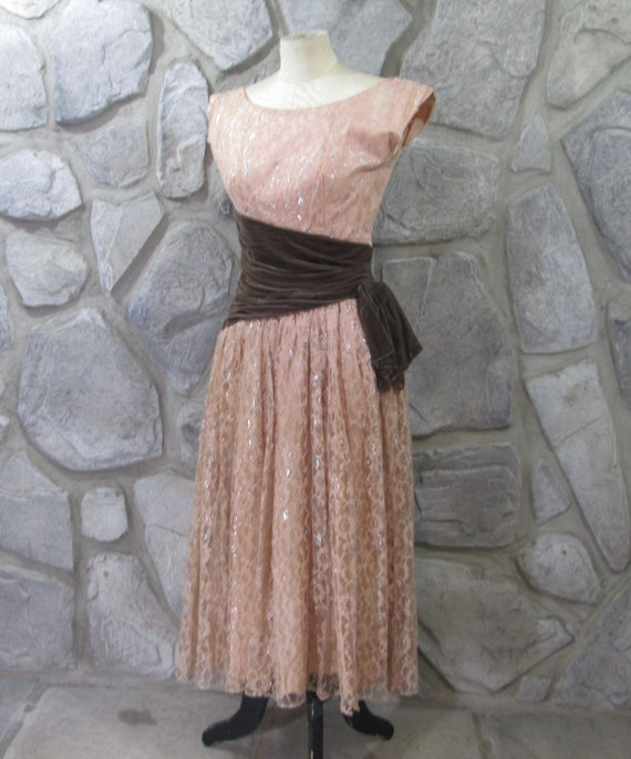 Vintage 1950's Lace and Velvet Party Dress