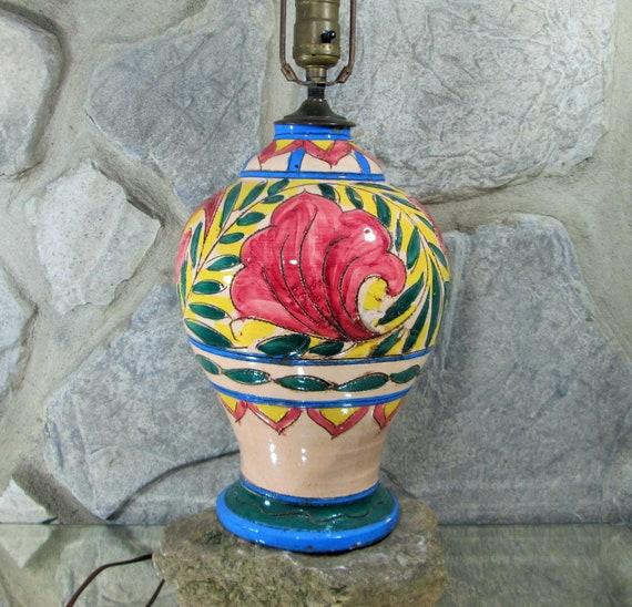 Vintage Italian Pottery Sgraffito Urn Lamp