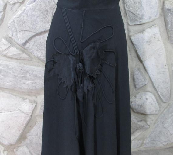 Vintage 1940's Black Rayon Cocktail Dress - image 3