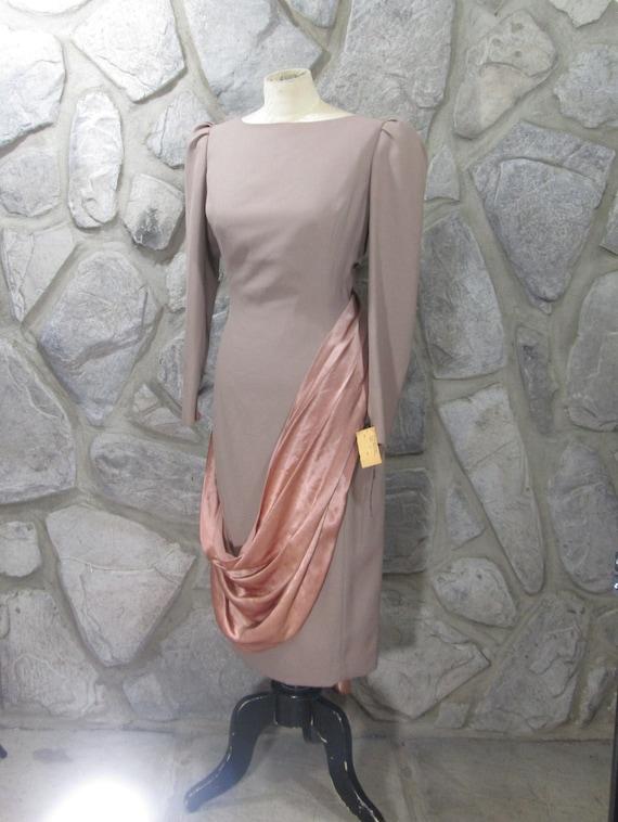 Vintage NWT Estevez Taupe Sash Detail Dress