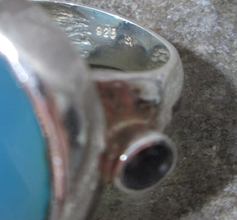 Vintage Blue Chalcedony and Amethyst Sterling Silver Ring