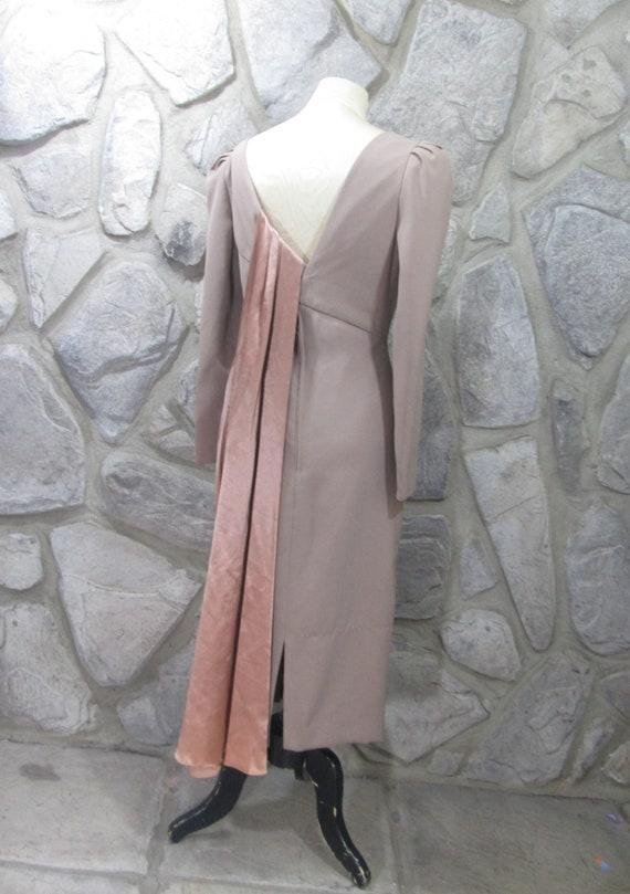Vintage NWT Estevez Taupe Sash Detail Dress - image 2