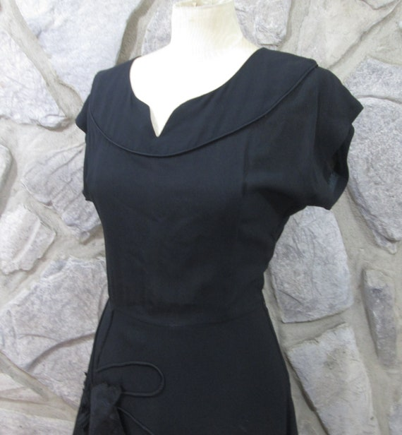 Vintage 1940's Black Rayon Cocktail Dress - image 2