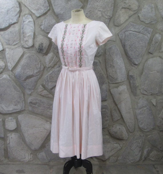 Vintage 1950's Gay Gibson Pink Embroidered Rockabi