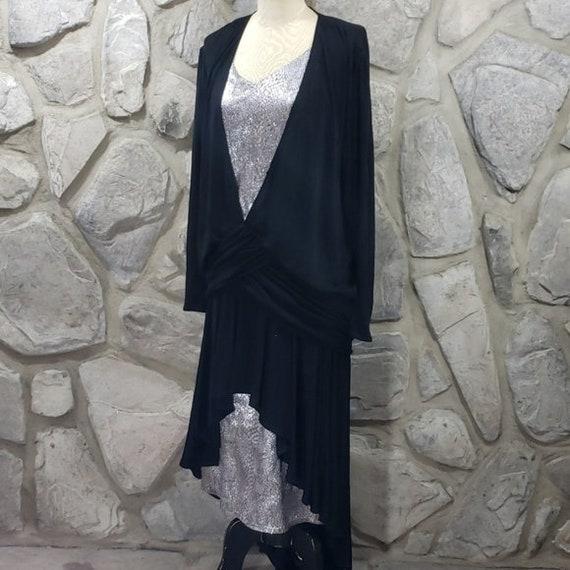 Vintage 80's Louviere Black Jersey/Silver Dress